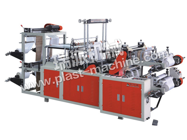 TWO LINES PERFORATING-ROLLING VEST AND FLAT BAG MAKING MACHINE